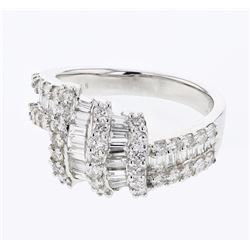 Natural 1.89 CTW Baguette & Diamond Ring 18K White Gold - REF-228R6K