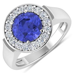 Natural 2.58 CTW Tanzanite & Diamond Ring 14K White Gold - REF-100F8N