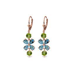Genuine 5.32 ctw Blue Topaz & Peridot Earrings 14KT Rose Gold - REF-50A3K