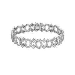 Natural 4.83 CTW Princess Diamond Bracelet 14K White Gold - REF-590R4K