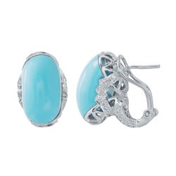 Natural 12.68 CTW Turquoise & Diamond Earrings 14K White Gold - REF-89Y3N