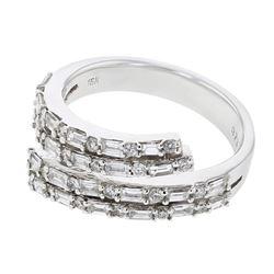 Natural 1.01 CTW Baguette & Diamond Ring 18K White Gold - REF-144R2K