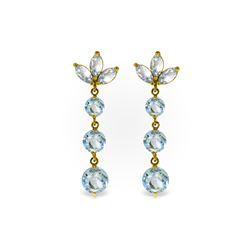 Genuine 8.7 ctw Aquamarine Earrings 14KT Yellow Gold - REF-78P7H