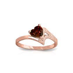 Genuine 0.90 ctw Garnet Ring 14KT Rose Gold - REF-36H3X