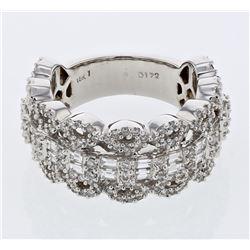 Natural 1.72 CTW Diamond & Baguette Ring 18K White Gold - REF-268X2T