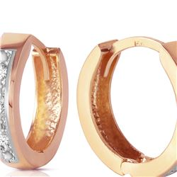 Genuine 0.04 ctw Diamond Anniversary Earrings 14KT Rose Gold - REF-45H8X