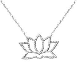 Natural 0.23 CTW Diamond Necklace 14K White Gold - REF-55X8T