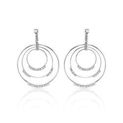 Natural 0.77 CTW Diamond Earrings 14K White Gold - REF-124H2W