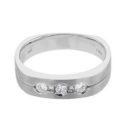 Natural 0.35 CTW Diamond & Princess Diamond Ring 14K White Gold - REF-99M9F