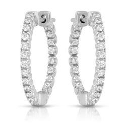 Natural 0.42 CTW Diamond Earrings 14K White Gold - REF-54X9T