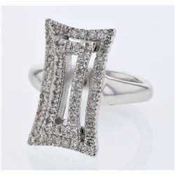 Natural 0.69 CTW Diamond Ring 18K White Gold - REF-165Y6N