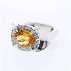 Natural 3.32 CTW Citrine & Diamond Ring 14K White Gold - REF-86R4K