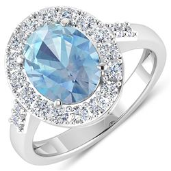 Natural 2.5 CTW Aquamarine & Diamond Ring 14K White Gold - REF-94F5N