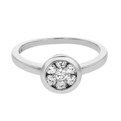 Natural 0.50 CTW Diamond Ring 14K White Gold - REF-66Y6N