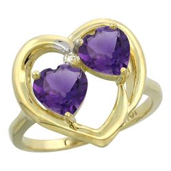 2.60 CTW Amethyst Ring 10K Yellow Gold - REF-23N7Y