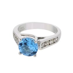 Natural 3.41 CTW Topaz & Diamond Ring 14K White Gold - REF-87Y3N
