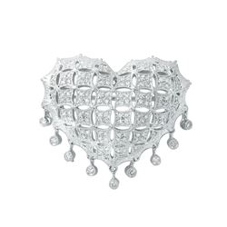 Natural 0.60 CTW Diamond & Brooch 18K White Gold - REF-130M5F