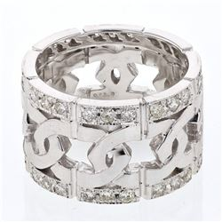 Natural 0.95 CTW Diamond Ring 14K White Gold - REF-140M4F