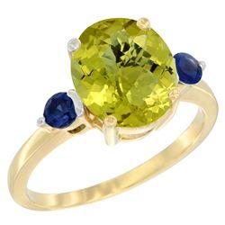 2.64 CTW Lemon Quartz & Blue Sapphire Ring 10K Yellow Gold - REF-23F7N