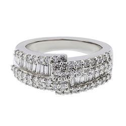 Natural 1.26 CTW Diamond & Baguette Ring 14K White Gold - REF-185M4F