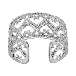 Natural 7.13 CTW Diamond Bangle 18K White Gold - REF-1040M4F