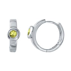Natural 0.32 CTW Yellow Sapphire Earring 18K White Gold - REF-54H2W