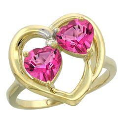 2.60 CTW Pink Topaz Ring 10K Yellow Gold - REF-23V7R