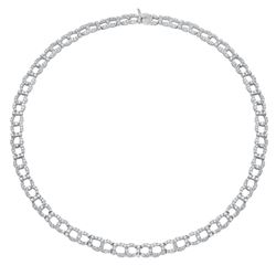 Natural 10.50 CTW Diamond Necklace 18K White Gold - REF-1143R2K