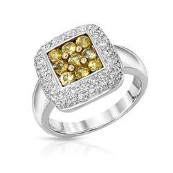 Natural 1.48 CTW Yellow Sapphire & Diamond Ring 14K White Gold - REF-86M4F