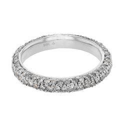 Natural 1.50 CTW Diamond Band Ring 14K White Gold - REF-110Y7N