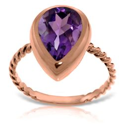 Genuine 2.5 ctw Amethyst Ring 14KT Rose Gold - REF-40T7A
