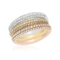 Natural 1.36 CTW Diamond Ring 14K Tri-Color Gold - REF-162R2K