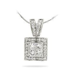 Natural 0.75 CTW Princess Diamond Necklace 14K White Gold - REF-125Y3N