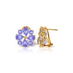 Genuine 4.85 ctw Tanzanite Earrings 14KT Yellow Gold - REF-98T3A