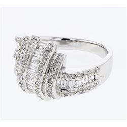 Natural 0.85 CTW Baguette & Diamond Ring 18K White Gold - REF-141H3W