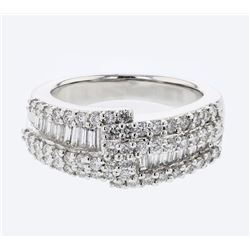 Natural 1.31 CTW Diamond & Baguette Ring 18K White Gold - REF-219X6T