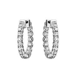 Natural 1.12 CTW Diamond Earrings 14K White Gold - REF-111X6T
