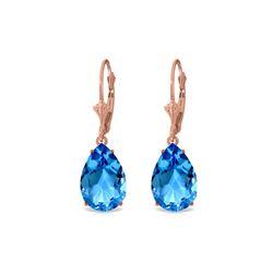 Genuine 13 ctw Blue Topaz Earrings 14KT Rose Gold - REF-48K4V