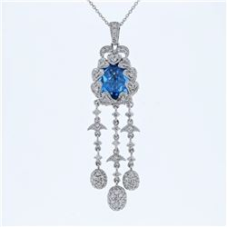 Natural 5.95 CTW Topaz & Diamond Necklace 14K White Gold - REF-130T5X