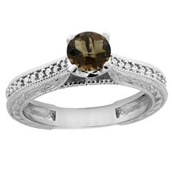 0.71 CTW Quartz & Diamond Ring 14K White Gold - REF-53M2A