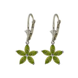 Genuine 2.8 ctw Peridot Earrings 14KT White Gold - REF-46K7V