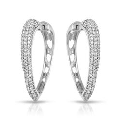 Natural 0.55 CTW Diamond Earrings 14K White Gold - REF-62F3M