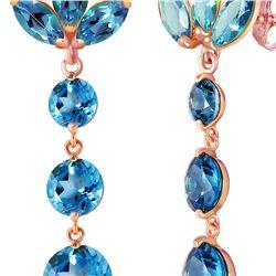 Genuine 8.7 ctw Blue Topaz Earrings 14KT Rose Gold - REF-53T6A