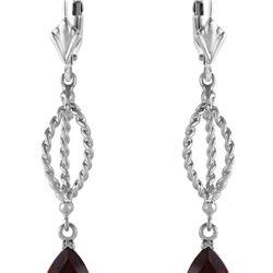 Genuine 3 ctw Garnet Earrings 14KT White Gold - REF-45H5X