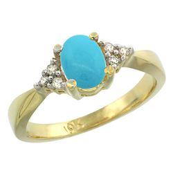 1.06 CTW Turquoise & Diamond Ring 14K Yellow Gold - REF-36V3R