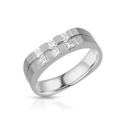 Natural 0.54 CTW Princess Diamond Ring 14K White Gold - REF-165T6X