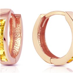 Genuine 0.70 ctw Citrine Earrings 14KT Rose Gold - REF-36Y3F