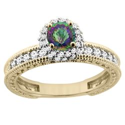 0.91 CTW Mystic Topaz & Diamond Ring 14K Yellow Gold - REF-65N9Y