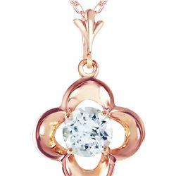 Genuine 0.55 ctw Aquamarine Necklace 14KT Rose Gold - REF-20H9X