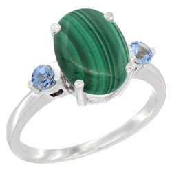 2.99 CTW Malachite & Blue Sapphire Ring 14K White Gold - REF-30N3Y